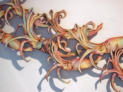 Humboldt Squid wood cut Margie Darrow