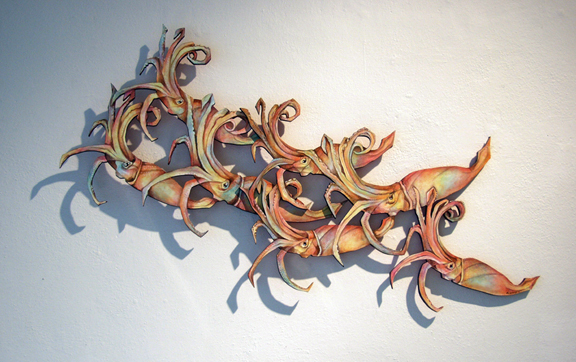 Humboldt Squid wood cut Margie Darrow