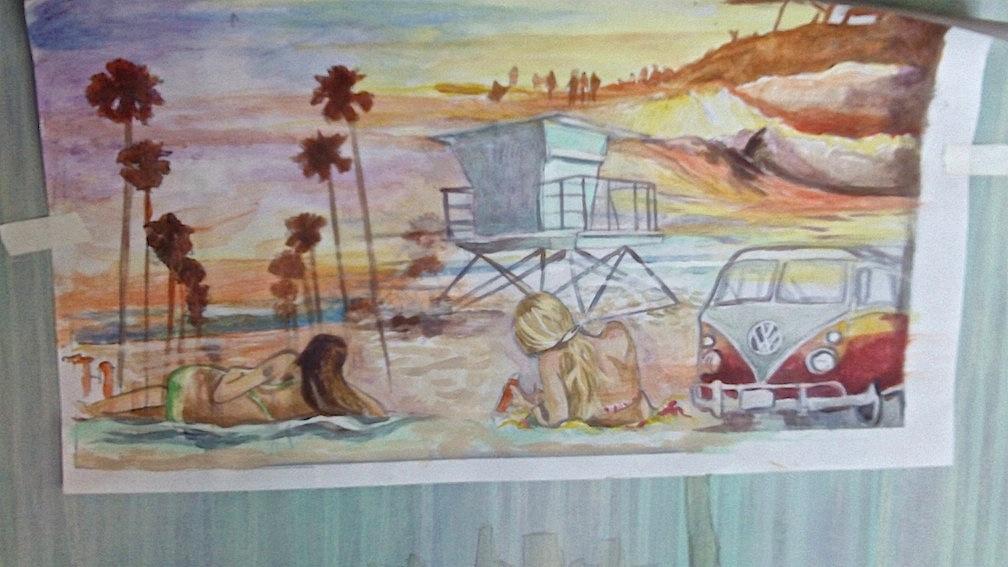 Original color sketch for Calif.